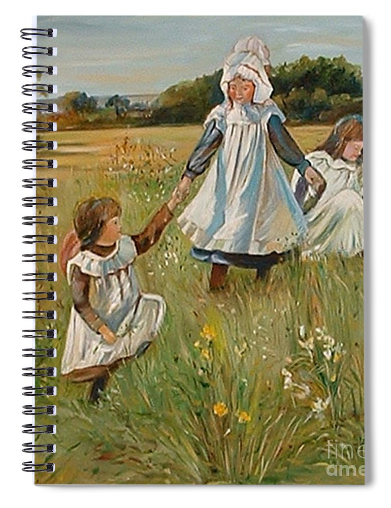 Classic Art Spiral Notebook featuring the painting Sisters by Silvana Abel