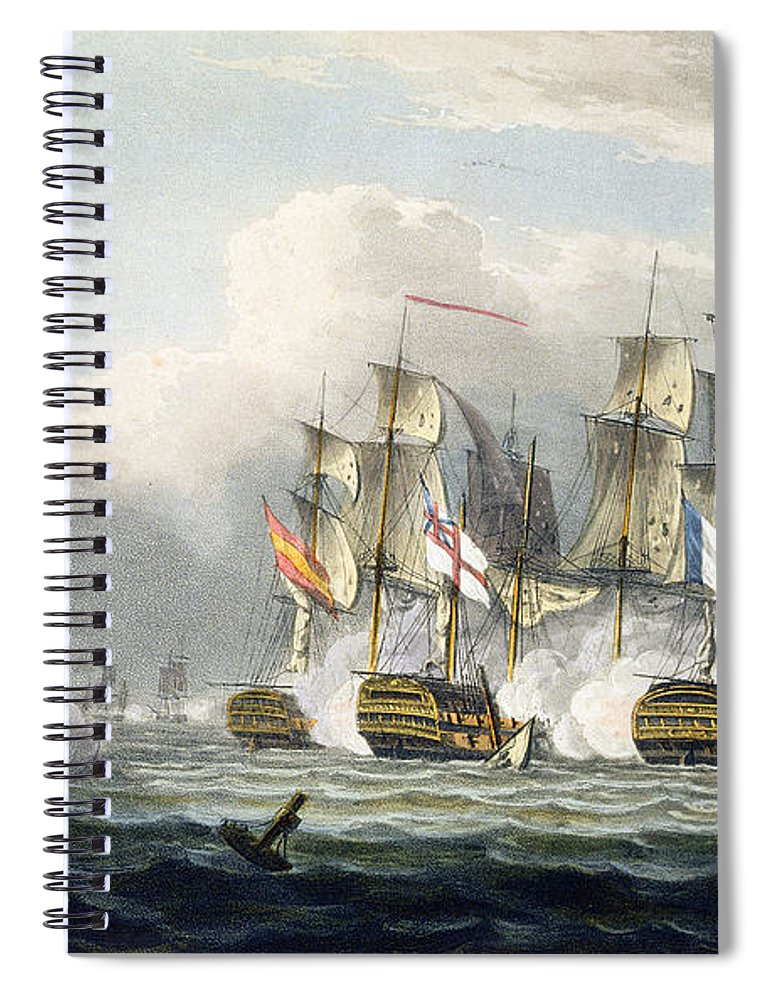 Naval Spiral Notebook featuring the painting Situation Of The Hms Bellerophon by Thomas Whitcombe
