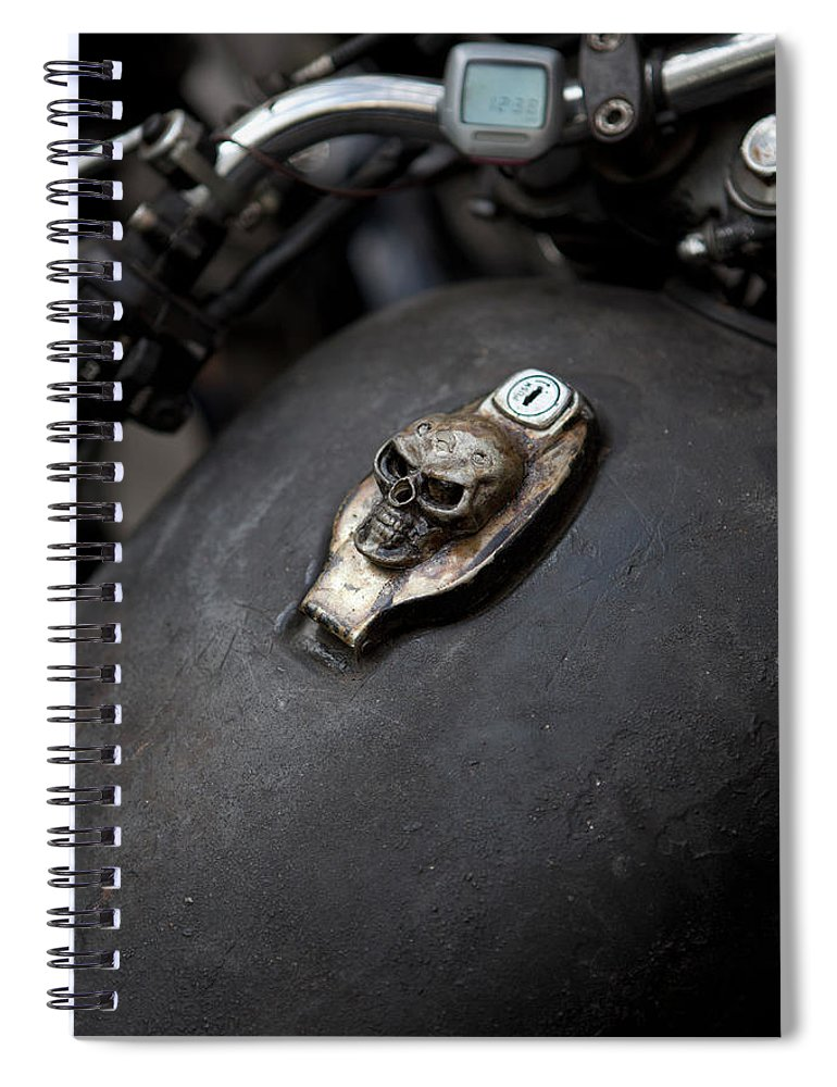 Berlin Spiral Notebook featuring the photograph Skull Design On Motorcycle Ignition by Andreas Schlegel
