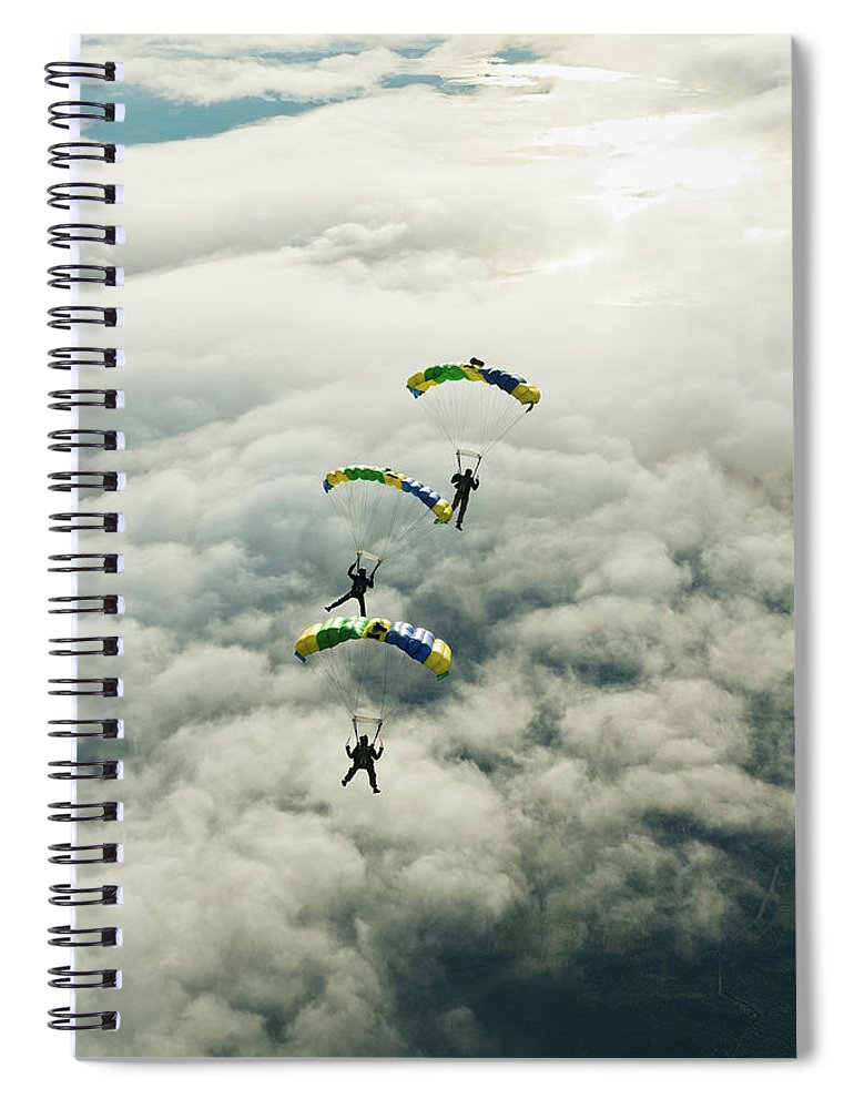 Young Men Spiral Notebook featuring the photograph Skydivers In Mid-air by Johner Images
