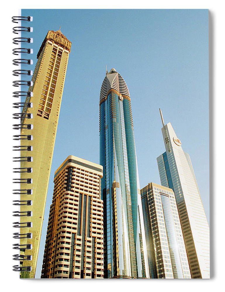 Financial District Spiral Notebook featuring the photograph Skyscrapers Along Sheikh Zayed Road At by Gary Yeowell