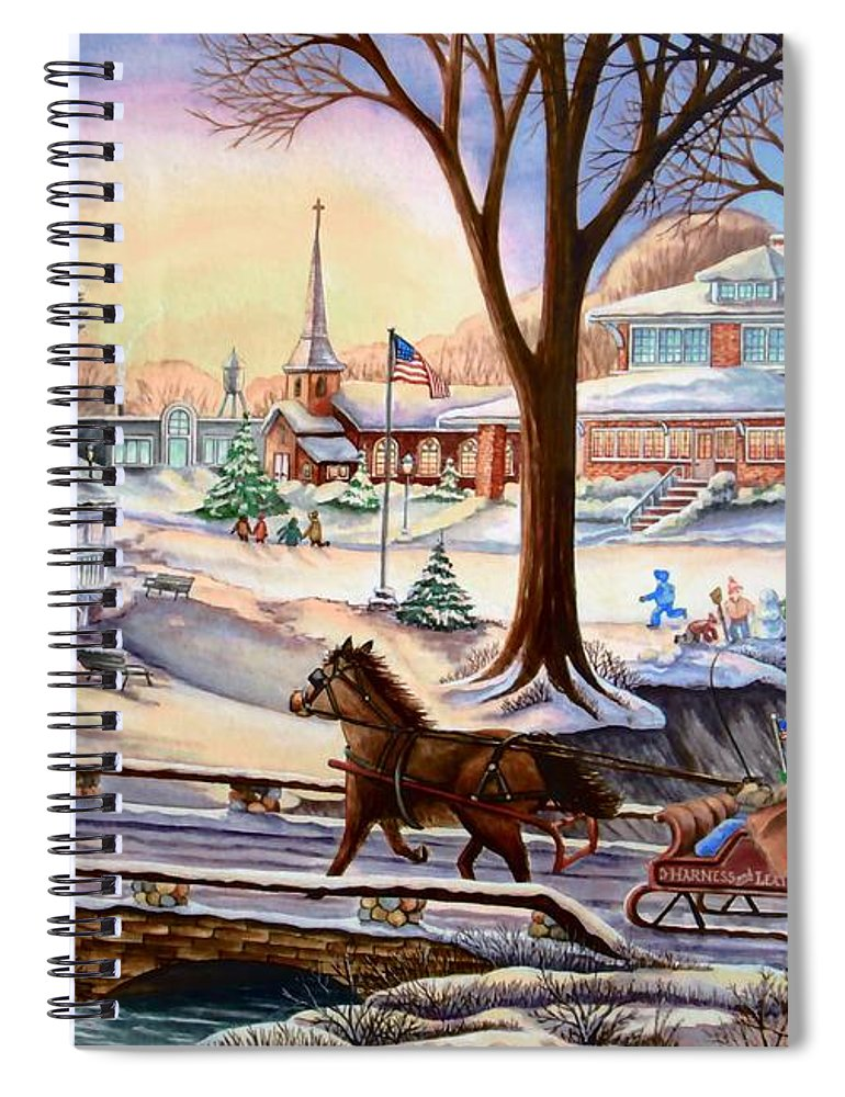 Christmas Spiral Notebook featuring the painting Sleigh Chase by Carol Sabo