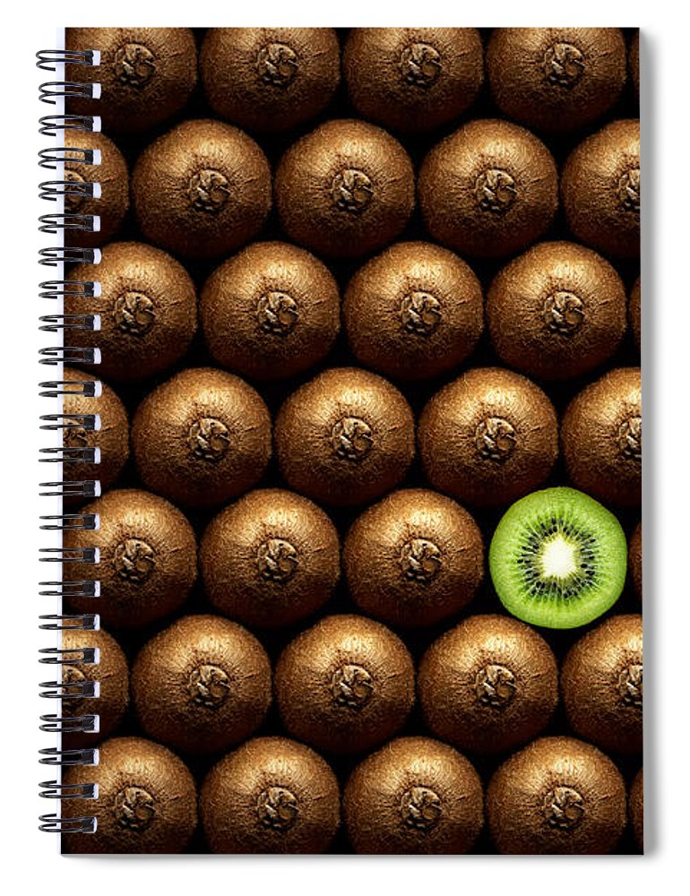 Kiwi Spiral Notebook featuring the photograph Sliced Kiwi Between Group by Johan Swanepoel
