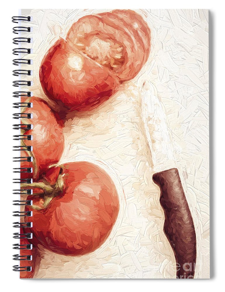 Knife Spiral Notebook featuring the digital art Sliced Tomatoes. Vintage Cooking Artwork by Jorgo Photography - Wall Art Gallery