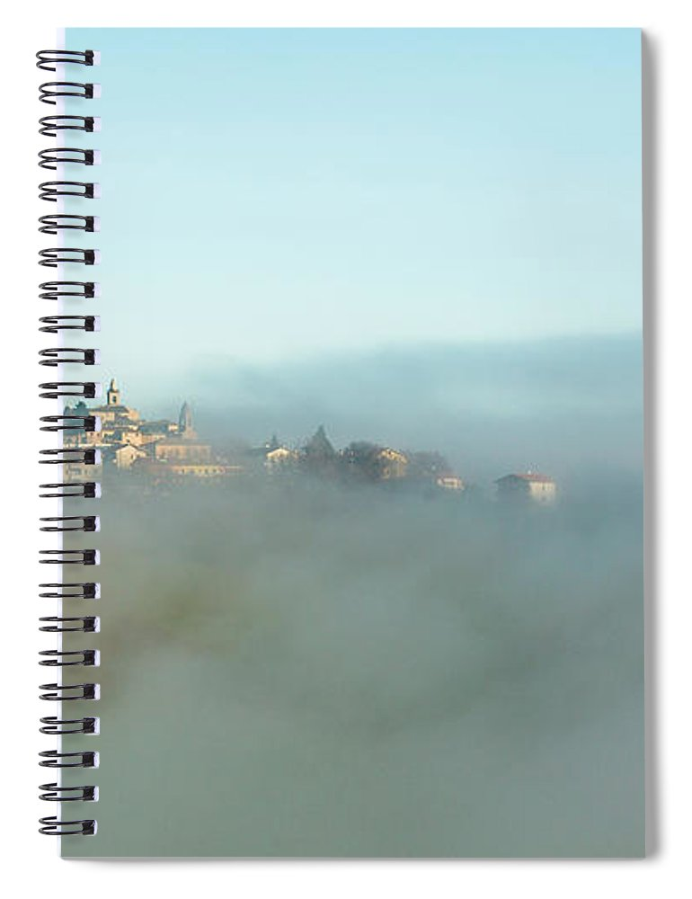 Scenics Spiral Notebook featuring the photograph Small Italian Village In The Fog by Deimagine