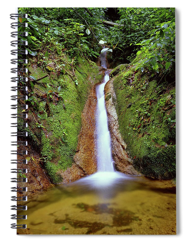 South America Spiral Notebook featuring the photograph Small Waterfall In Tropical Rain Forest by Fstoplight