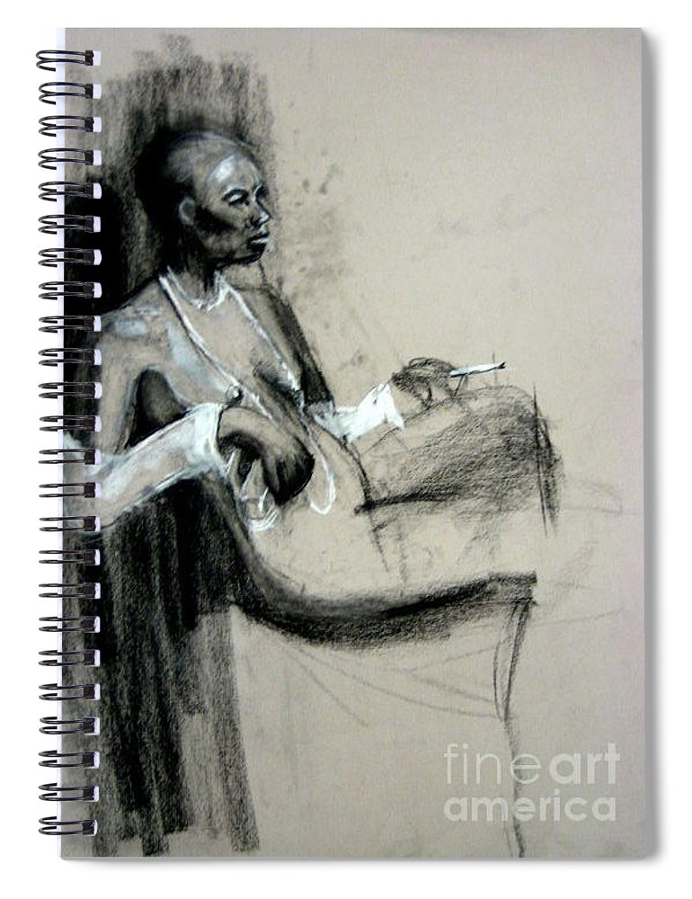 Smoking Spiral Notebook featuring the drawing Smoking by Gabrielle Wilson-Sealy