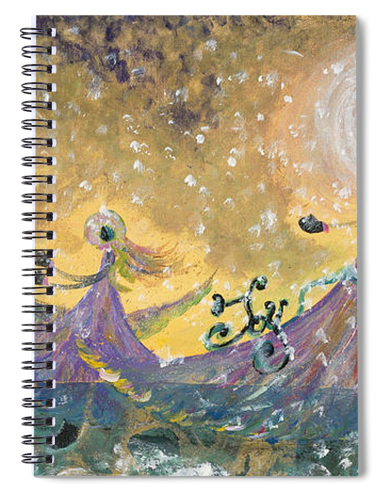 Joy Spiral Notebook featuring the painting Snow Joy by Nadine Rippelmeyer