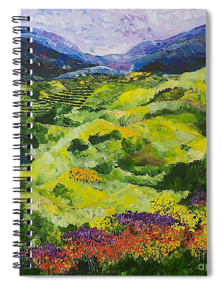 Landscape Spiral Notebook featuring the painting Soft Grass by Allan P Friedlander