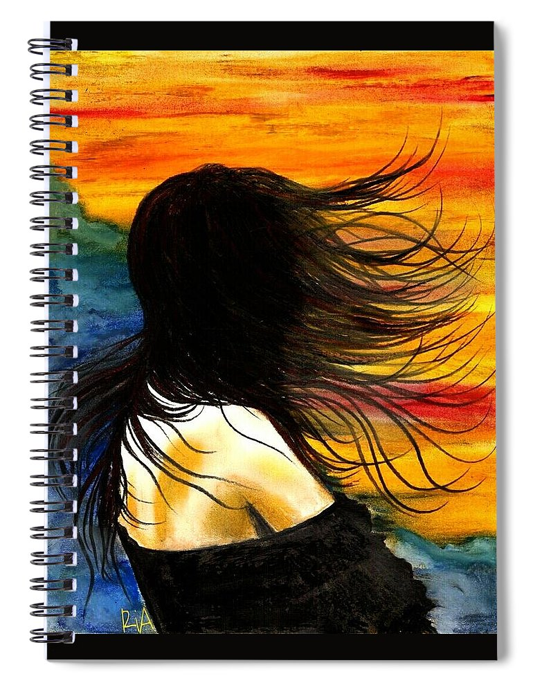 Beautiful Spiral Notebook featuring the photograph Solo Mood by Artist RiA