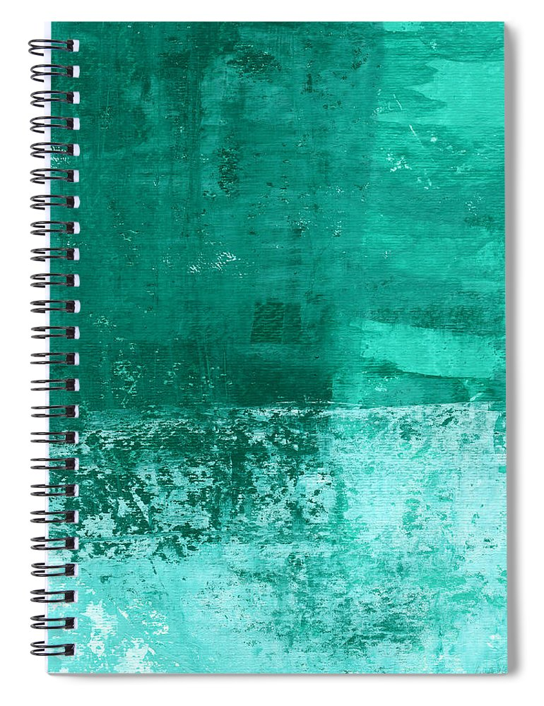 Abstract Art Spiral Notebook featuring the painting Soothing Sea - Abstract painting by Linda Woods