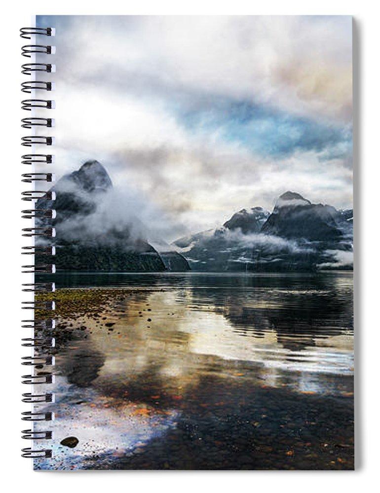 Scenics Spiral Notebook featuring the photograph Sound Asleep | Fiordland, New Zealand by Copyright Lorenzo Montezemolo