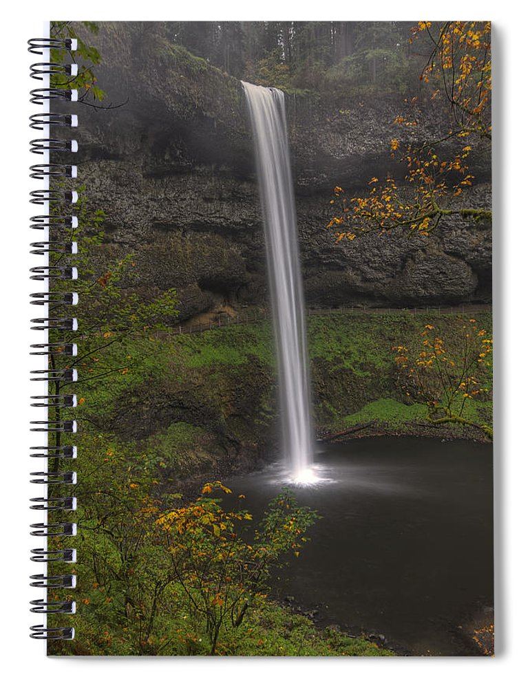 October. Silver Falls State Park Spiral Notebook featuring the photograph South Falls 1 by Mark Kiver