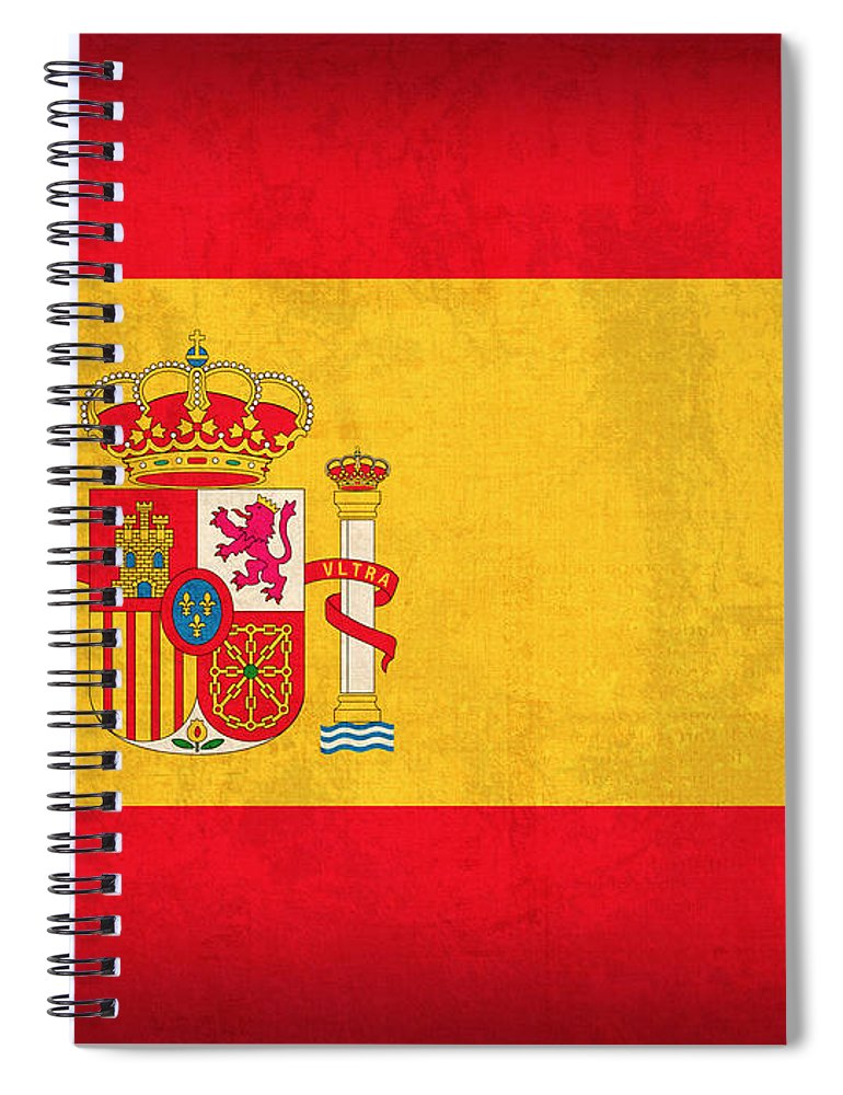 Spain Flag Vintage Distressed Finish Spanish Madrid Barcelona Europe Nation Country Spiral Notebook featuring the mixed media Spain Flag Vintage Distressed Finish by Design Turnpike