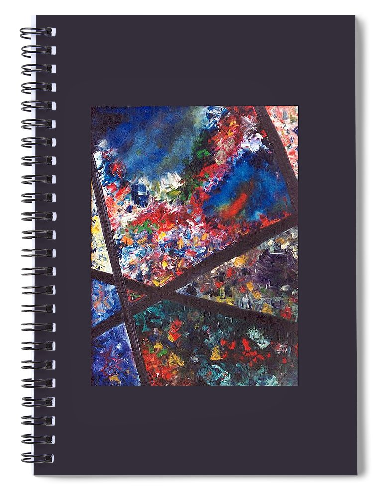 Abstract Spiral Notebook featuring the painting Spectral Chaos by Micah Guenther