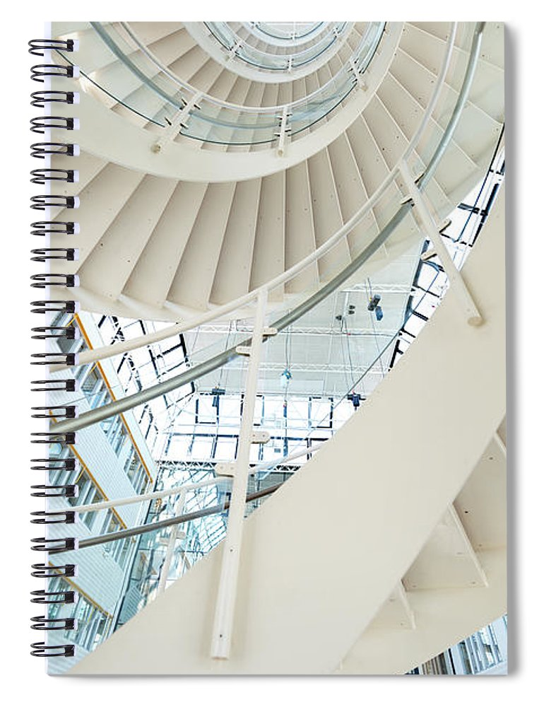 Steps Spiral Notebook featuring the photograph Spiral Staircase Inside Office Complex by Blurra
