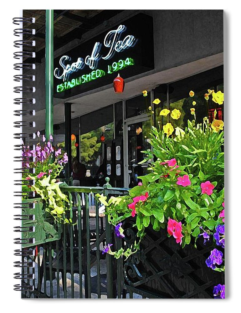 Alabama Photographer Spiral Notebook featuring the digital art Spot Of Tea Flower Boxes by Michael Thomas