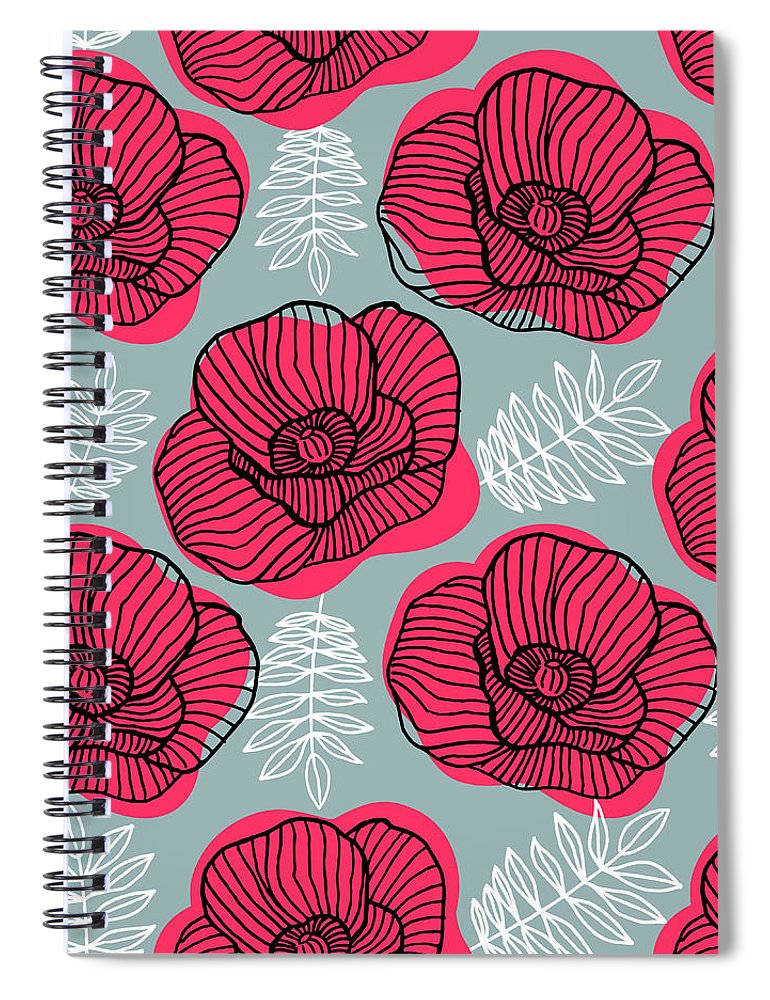 Flowerbed Spiral Notebook featuring the digital art Spring Bright Seamless Floral Pattern by Ekaterina Bedoeva