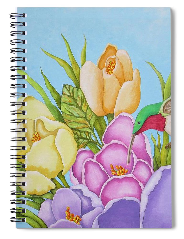 Flowers Spiral Notebook featuring the painting Spring Delight by Carol Sabo