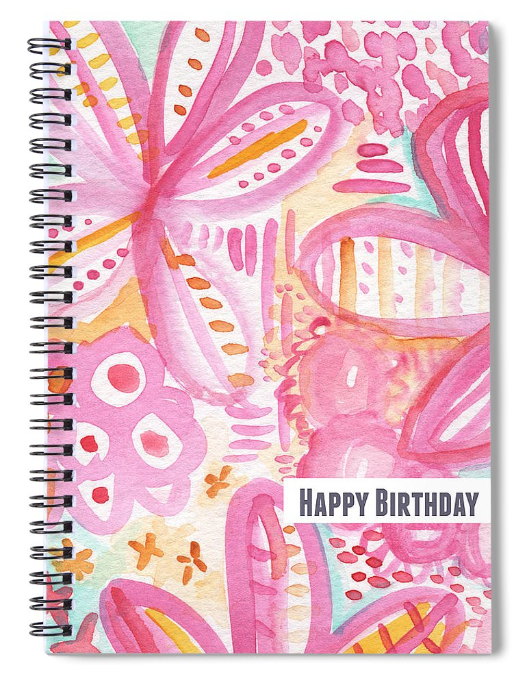 Flowers Spiral Notebook featuring the painting Spring Flowers Birthday Card by Linda Woods