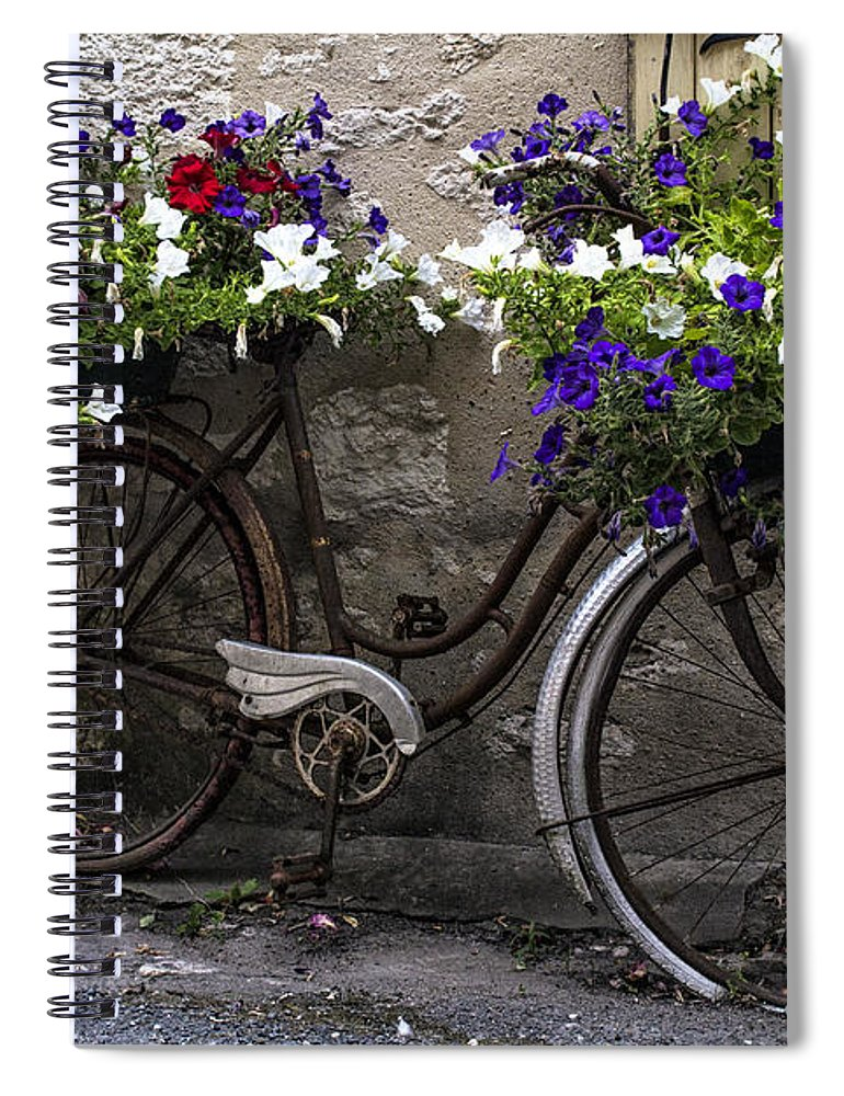 Spring Flowers On A Vintage Bike Spiral Notebook For Sale By Georgia
