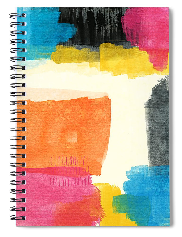 Spring Spiral Notebook featuring the painting Spring Forward- Colorful Abstract Painting by Linda Woods