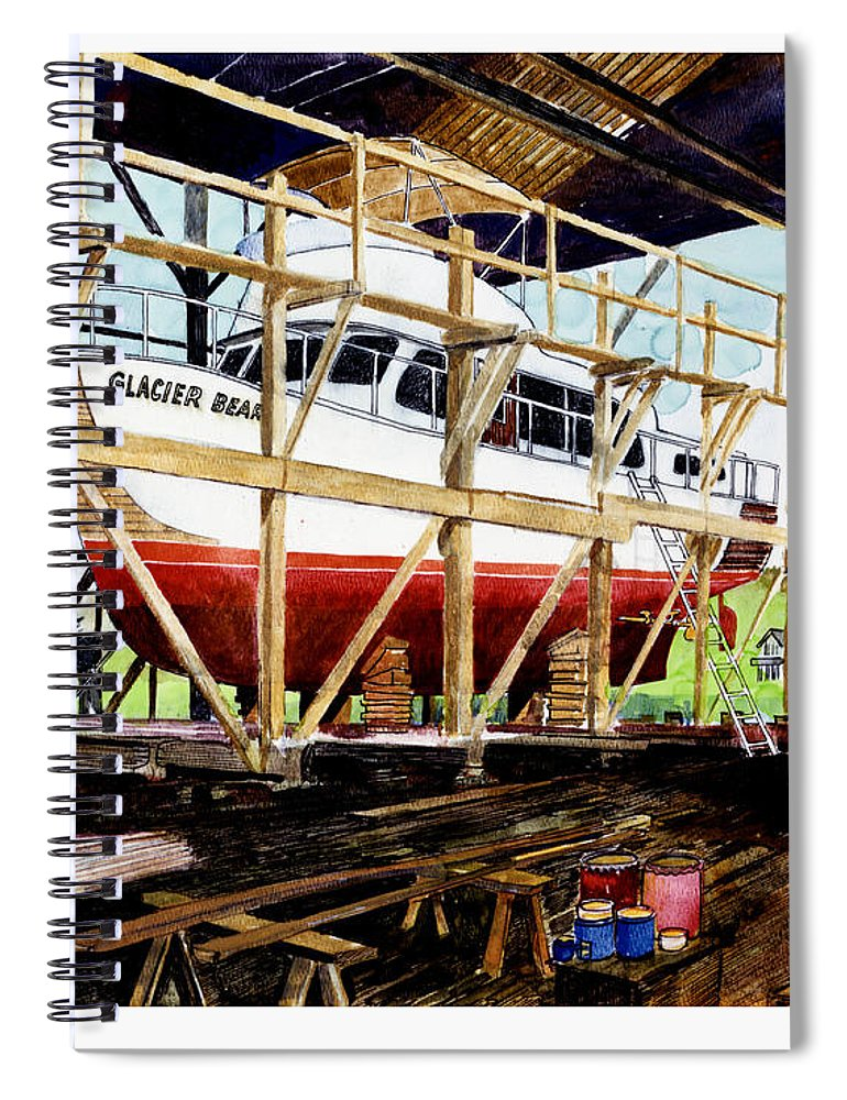 Marinas Spiral Notebook featuring the painting Yacht Glacier Bear Hauled Out In Gig Harbor by Jack Pumphrey