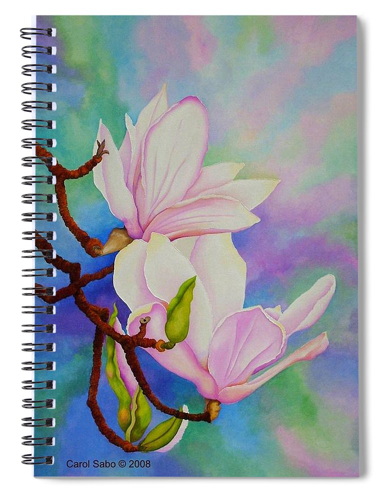 Pastels Spiral Notebook featuring the painting Spring Magnolia by Carol Sabo