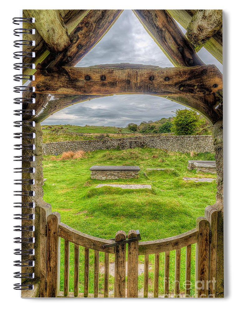 British Spiral Notebook featuring the photograph St Celynnin Graveyard by Adrian Evans
