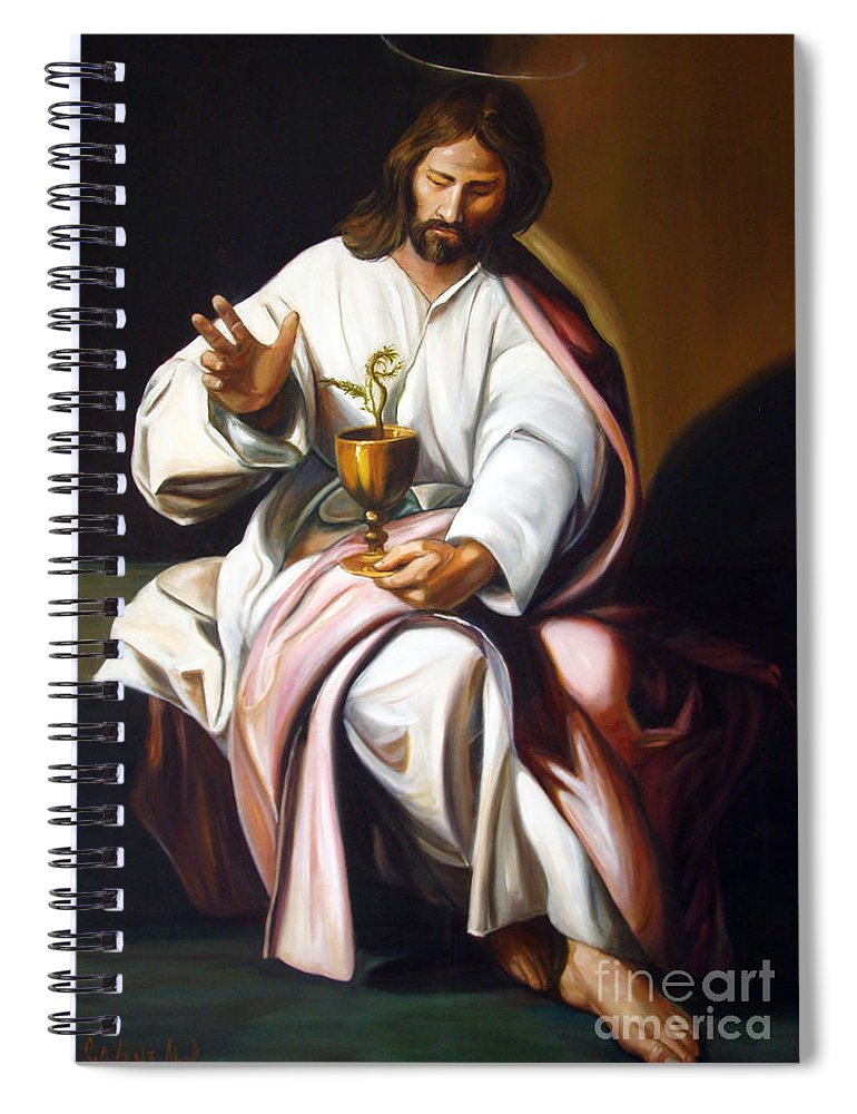 Classic Art Spiral Notebook featuring the painting St John The Evangelist by Silvana Abel