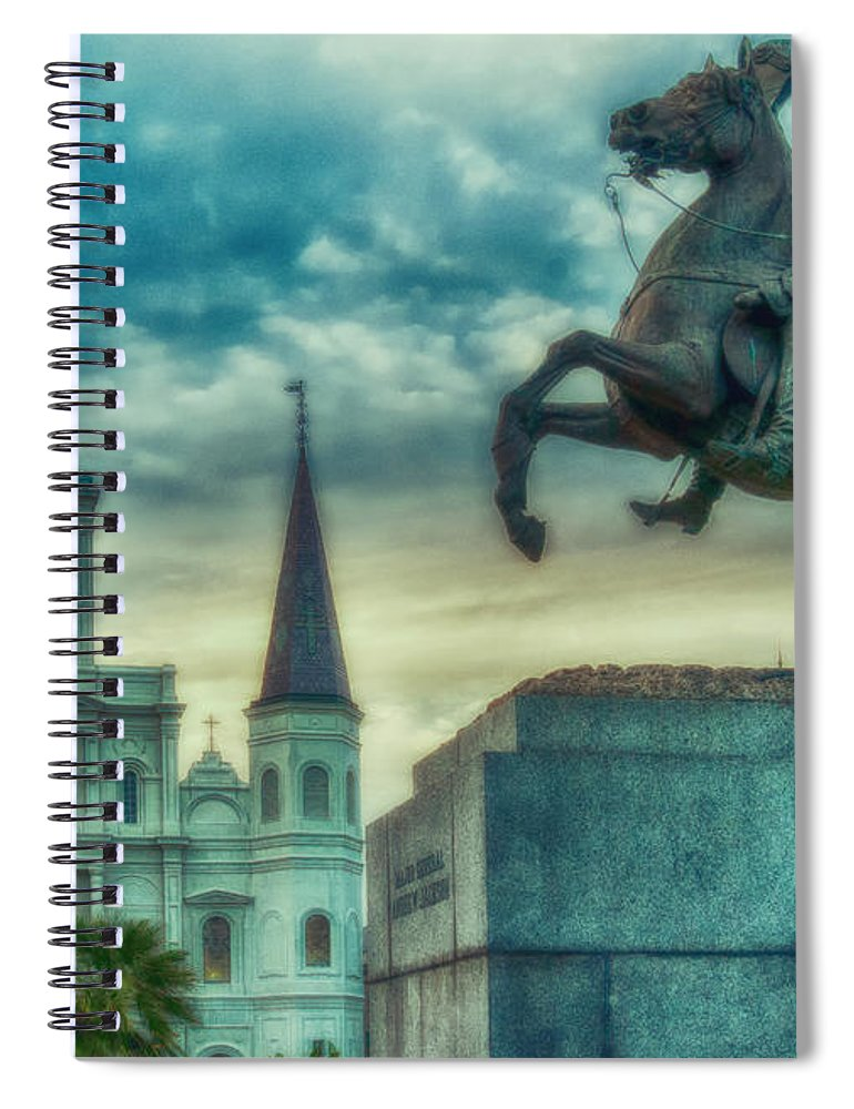 Vieux Carre Spiral Notebook featuring the photograph St. Louis Cathedral And Andrew Jackson- Artistic by Kathleen K Parker