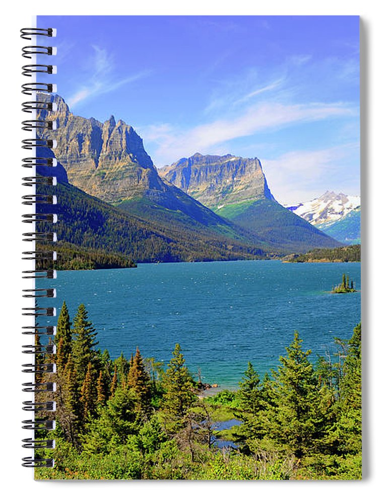 Scenics Spiral Notebook featuring the photograph St. Mary Lake, Glacier National Park by Dennis Macdonald