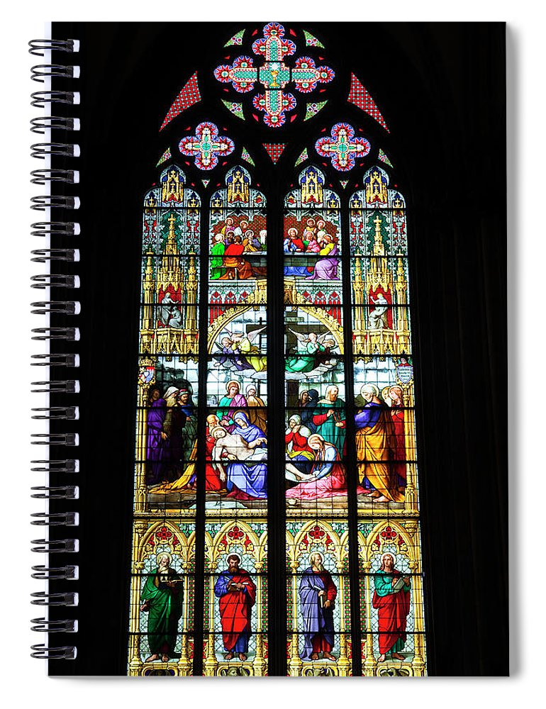 Gothic Style Spiral Notebook featuring the photograph Stained Glass Window In Cologne by Julian Elliott Photography