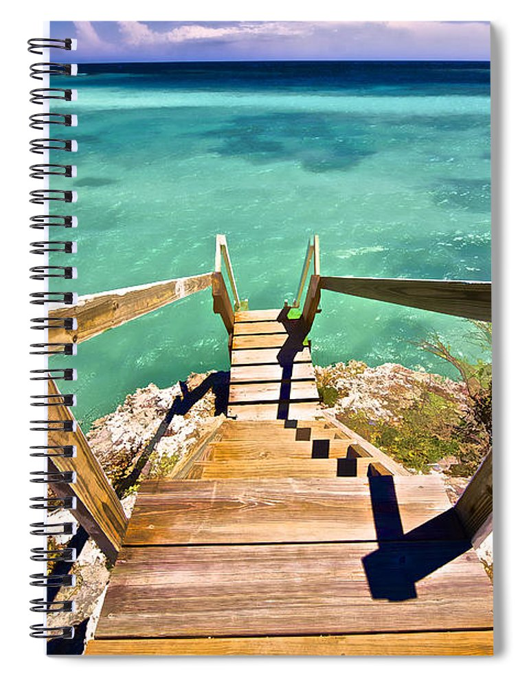 Aqua Spiral Notebook featuring the photograph Stairway To The Sea by David Letts