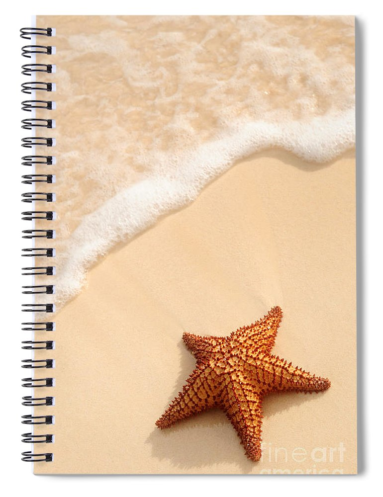 Starfish Spiral Notebook featuring the photograph Starfish And Ocean Wave by Elena Elisseeva