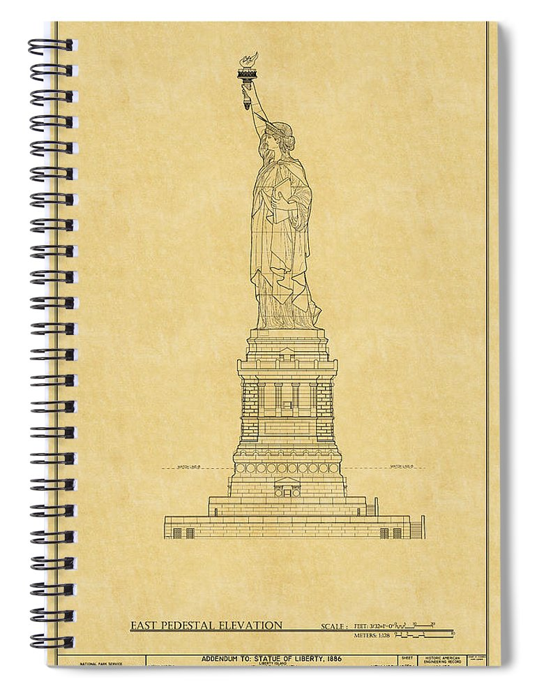 Statue of liberty blueprint 2 spiral notebook for sale by andrew fare new york spiral notebook featuring the photograph statue of liberty blueprint 2 by andrew fare malvernweather Gallery