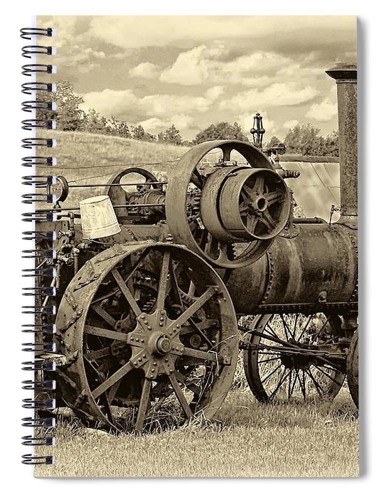 Farm Spiral Notebook featuring the photograph Steam Powered Tractor Sepia by Steve Harrington