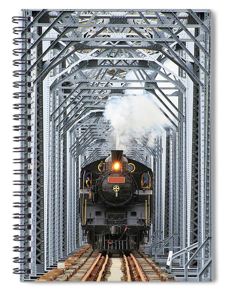 Air Pollution Spiral Notebook featuring the photograph Steam Train by Peter Hong