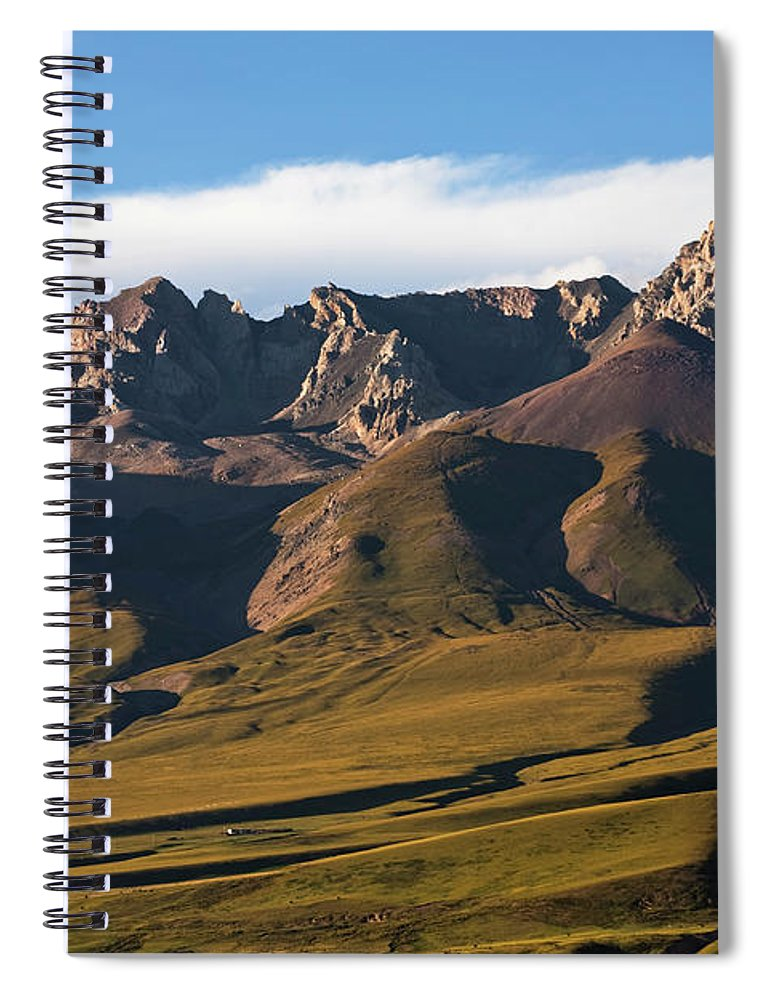 Scenics Spiral Notebook featuring the photograph Steppe Valley With Surrounding Peaks by Merten Snijders