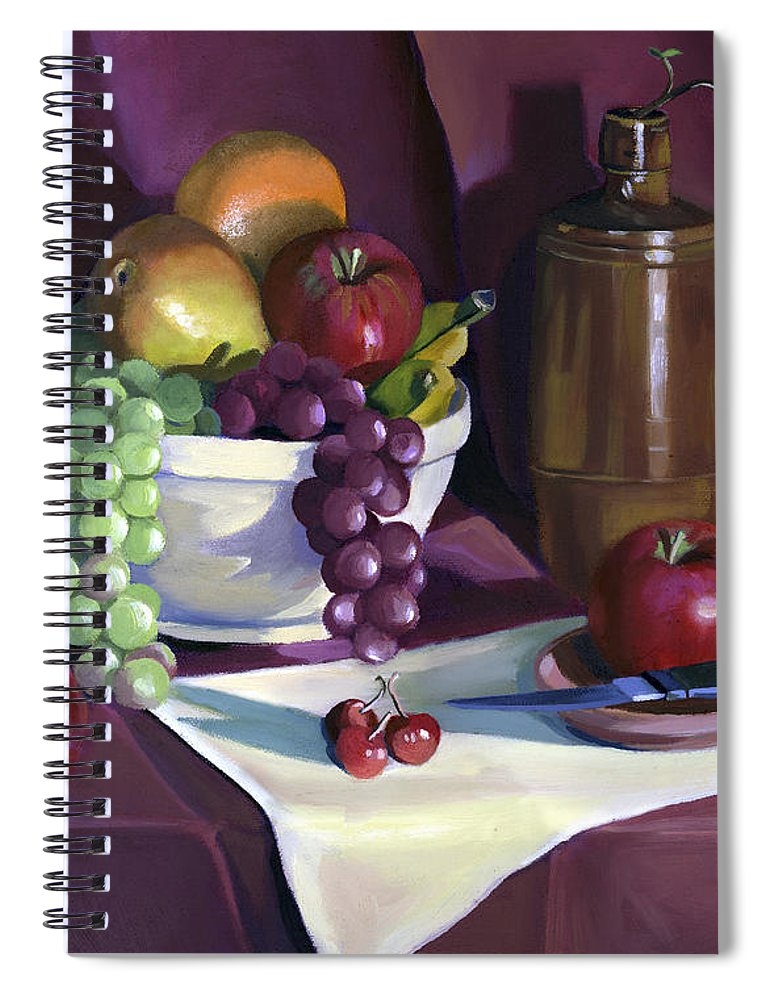 Fine Art Spiral Notebook featuring the painting Still Life with Apples by Nancy Griswold