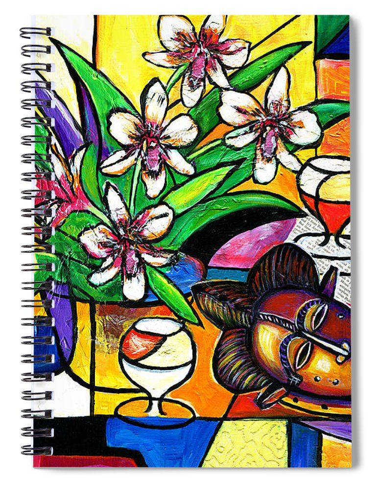 Everett Spruill Spiral Notebook featuring the painting Still LIfe with Orchids and African Mask by Everett Spruill