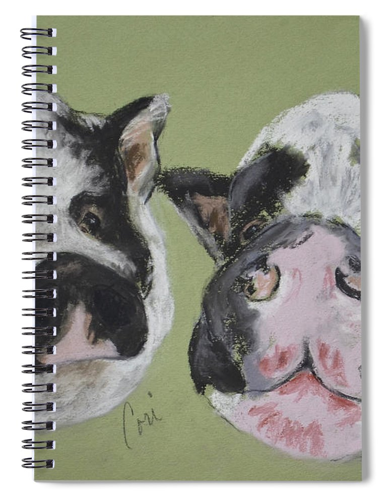 Pot Bellied Pigs Spiral Notebook featuring the drawing Stirring The Pot by Cori Solomon