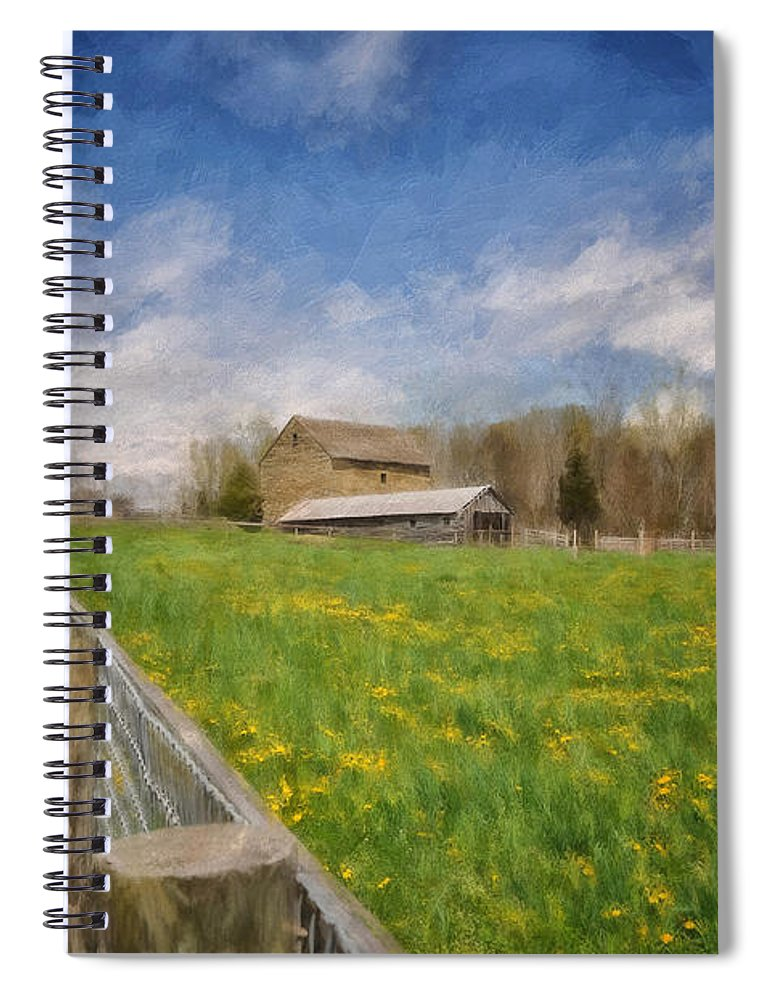 Barn Spiral Notebook featuring the digital art Stone Barn On A Spring Morning by Lois Bryan