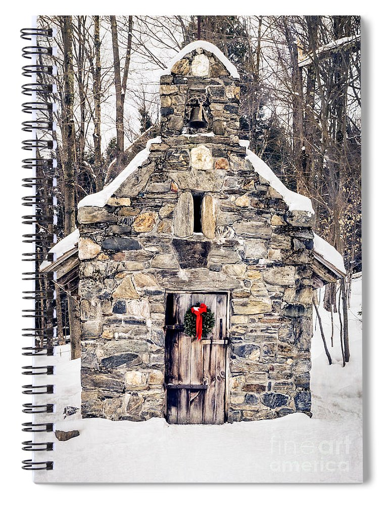 Chapel Spiral Notebook featuring the photograph Stone Chapel In The Woods Trapp Family Lodge Stowe Vermont by Edward Fielding