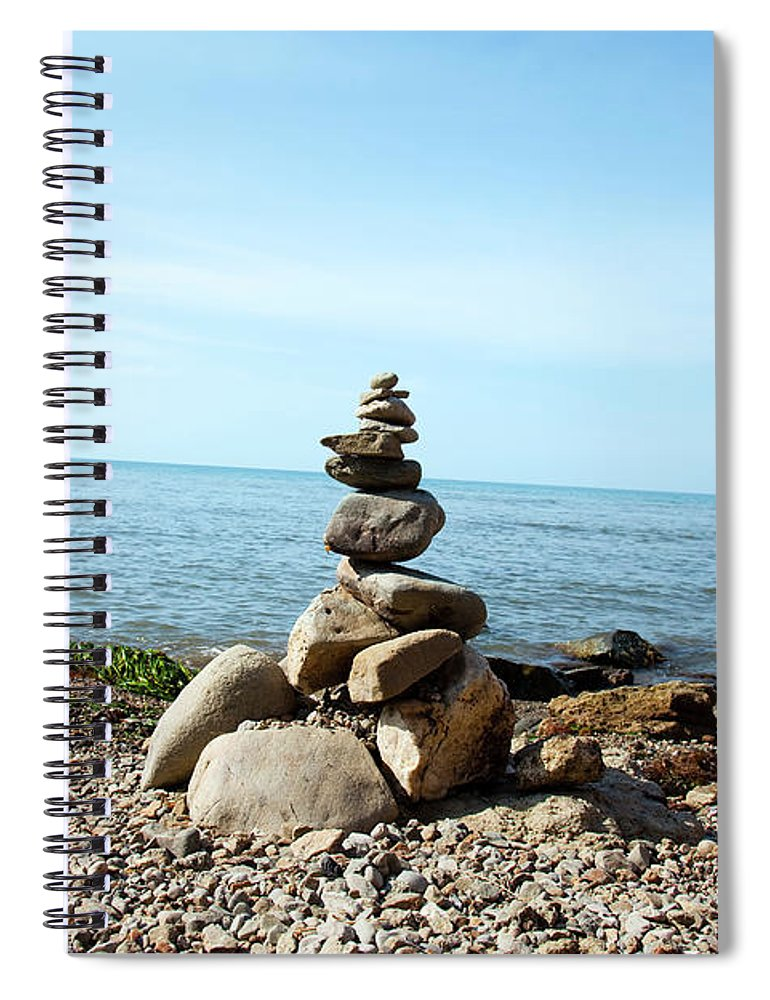 Heap Spiral Notebook featuring the photograph Stone Tower On The Beach by Mashabuba