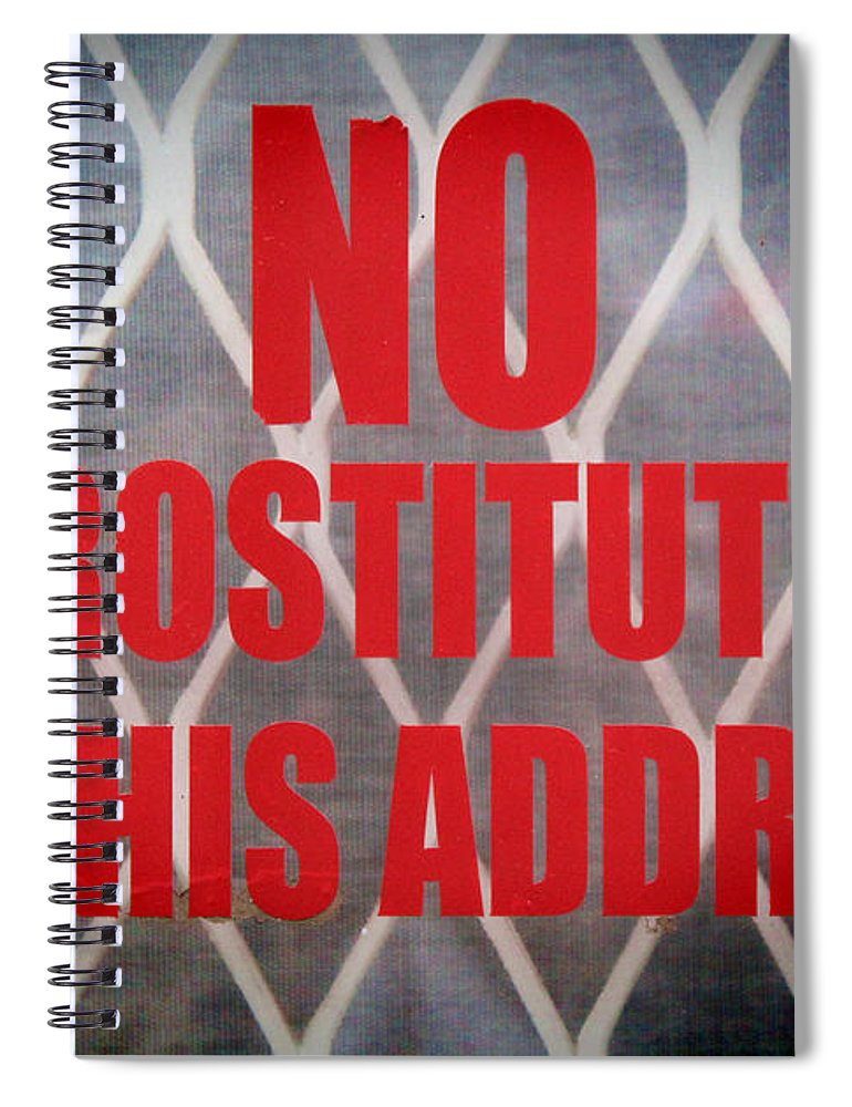 Door Sign Spiral Notebook featuring the photograph Stop Ringing The Bell by Jasna Buncic