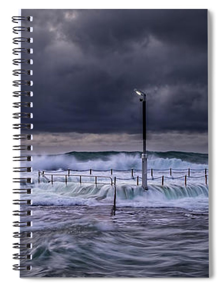 Panoramic Spiral Notebook featuring the photograph Stormy Ocean, Monavale Beach, Australia by Bert