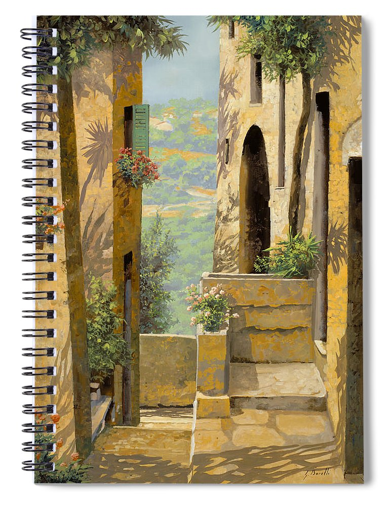 Landscape Spiral Notebook featuring the painting stradina a St Paul de Vence by Guido Borelli