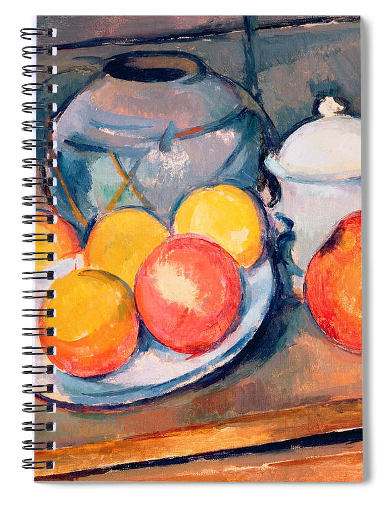 Still Life Spiral Notebook featuring the painting Straw Covered Vase Sugar Bowl and Apples by Paul Cezanne