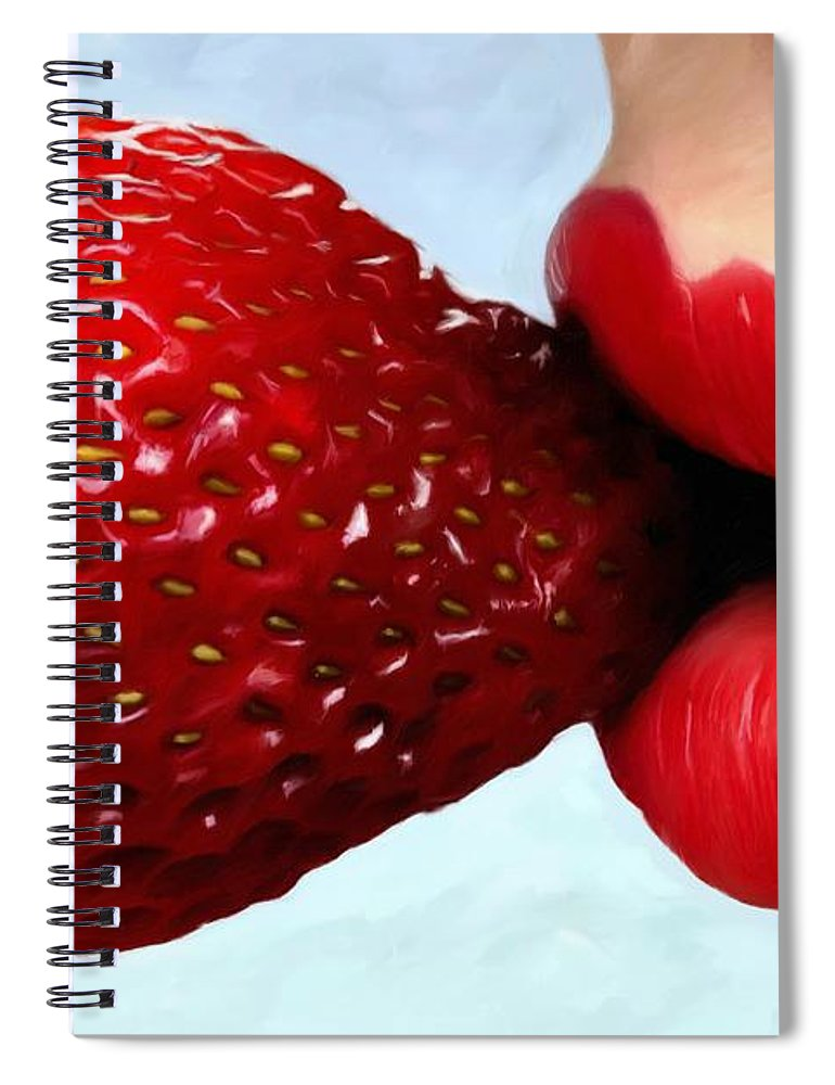 Lips Spiral Notebook featuring the digital art Strawberry and Lips by Gabriel T Toro